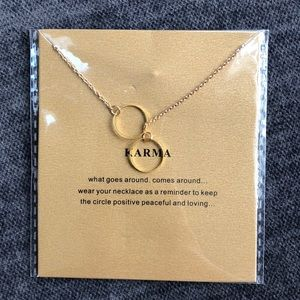 14k gold dipped karma circle necklace